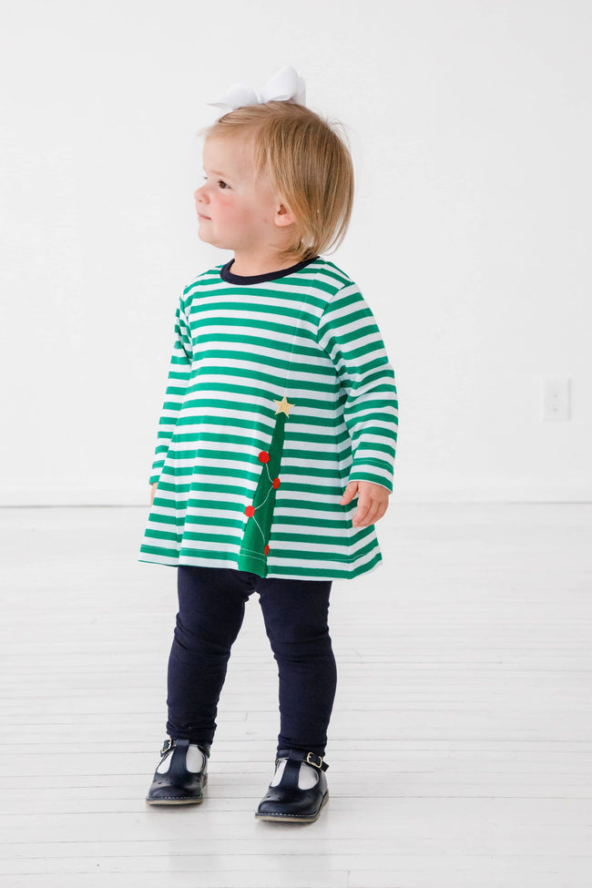 Green Stripe Christmas Tree Tunic Top with Navy Leggings