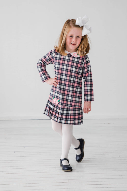 Pink & Navy Plaid Dress with Applique Flowers - Florence Eiseman