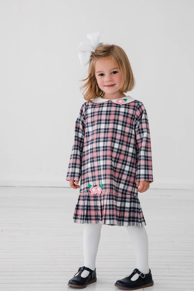 Pink & Navy Plaid Dress with Applique Flowers