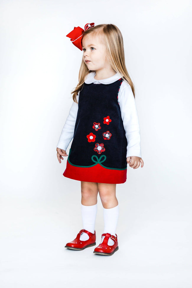 Navy and Red Corduroy Jumper with Flowers