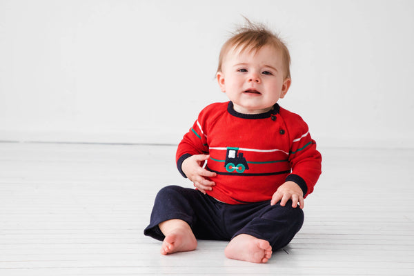 Navy and Red Sweater Knit Top & Pant Set with Train