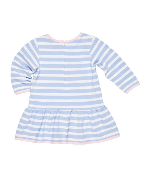 Blue Stripe Knit Dress with Snowflakes - Florence Eiseman