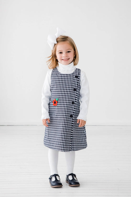 Navy Check Jumper with Fringe - Florence Eiseman