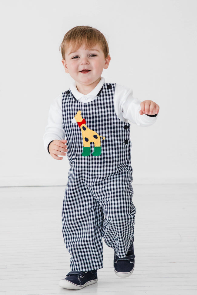 Navy and White Check Longall with Giraffe Applique