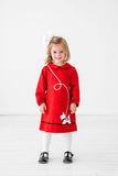 Red Ponte Knit Dress with Scottie Dog - Florence Eiseman