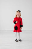 Red Ponte Dress with Faux Fur Purse