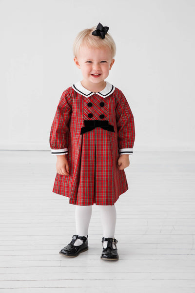 Infant and Toddler Girl Red Plaid Dress with Ribbon Trim