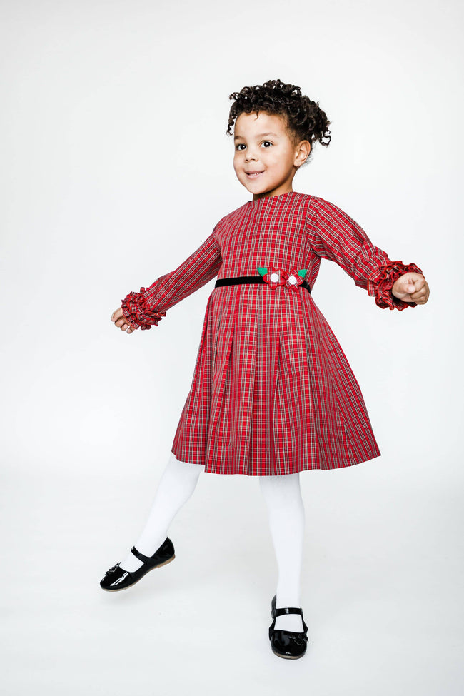 Red Plaid Dress with Ruffled Cuffs