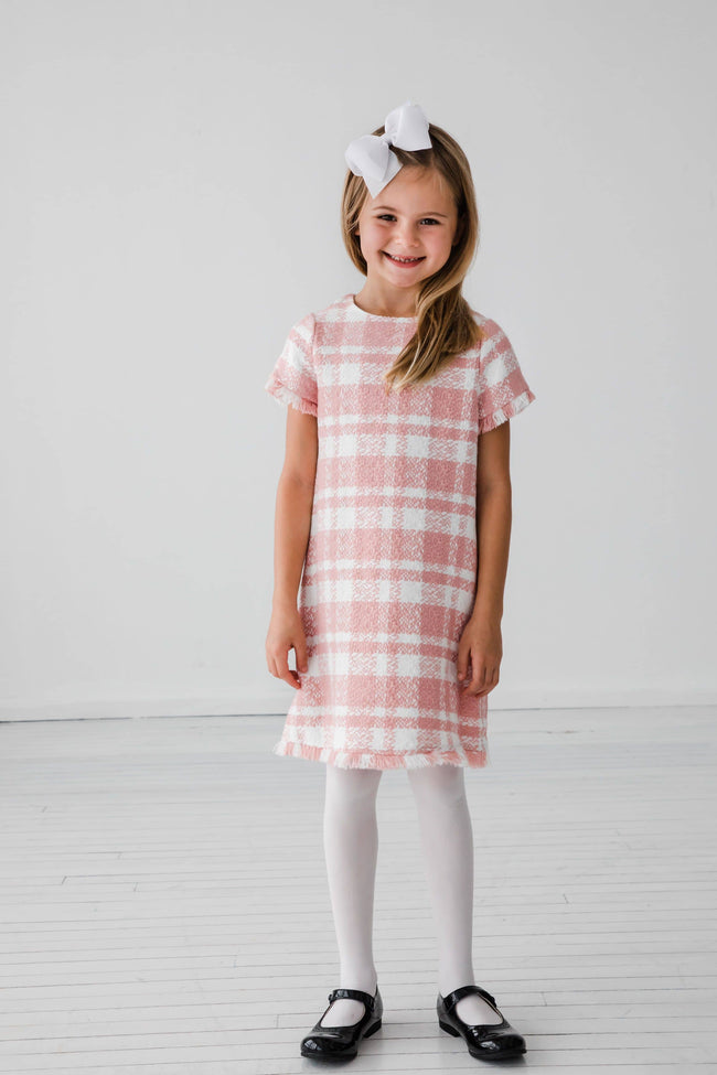 Pink Plaid Boucle Dress