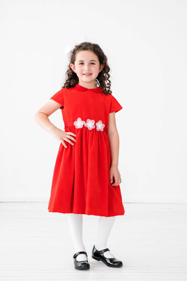 Red Velvet Dress with Organza Flowers