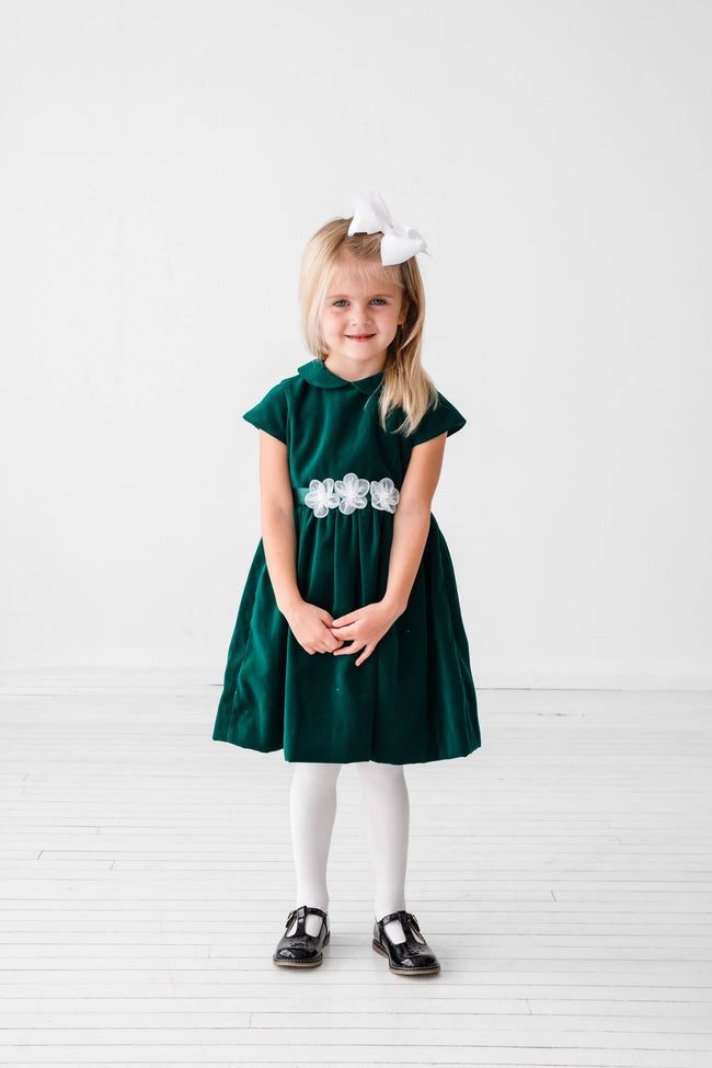 Green Velvet Dress with Organza Flowers - Florence Eiseman