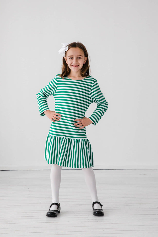 Green Stripe Knit Dress