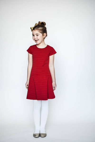 Red Cap Sleeve Knit Dress