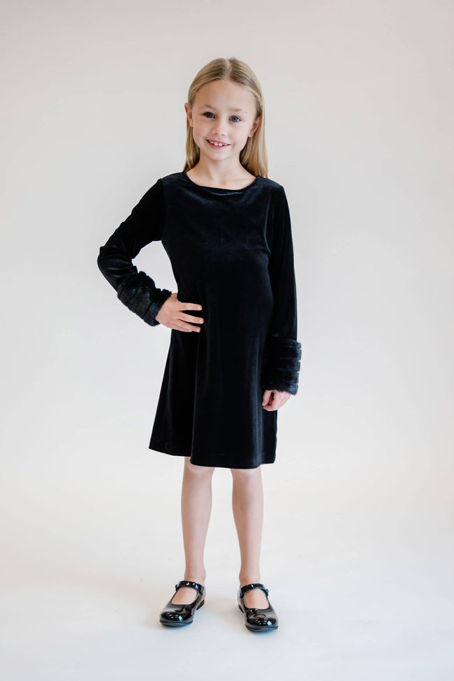 Black Velvet Dress with Faux Fur Cuffs - Florence Eiseman