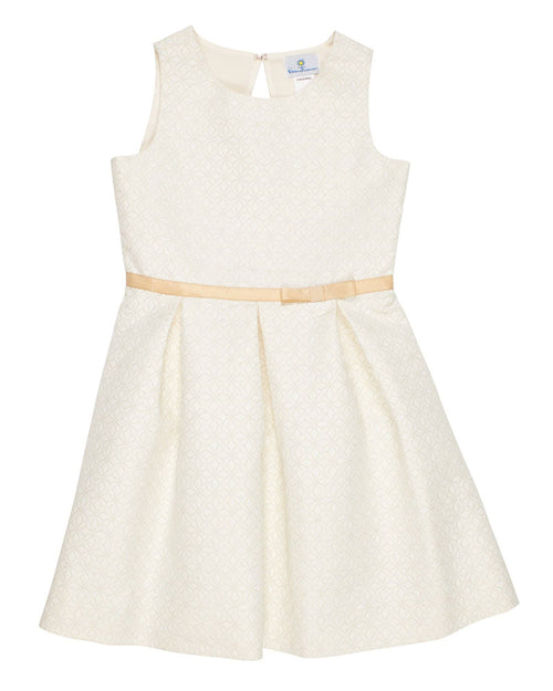 Ivory and Gold Jacquard Pleated Dress