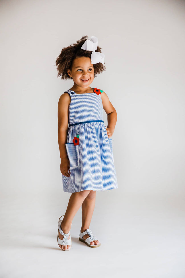 Girls Blue Seersucker Dress with Appliqued Flowers