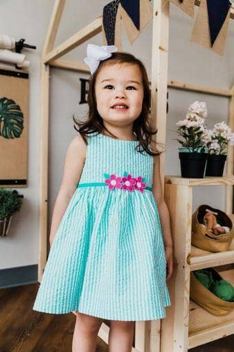 Jade Stripe Seersucker Sundress with Flowers