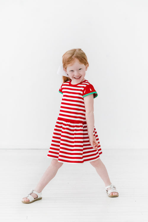 Red Stripe Knit Watermelon Dress