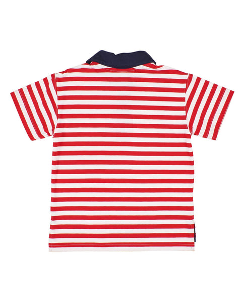 Boys Red Stripe Polo Shirt - Florence Eiseman