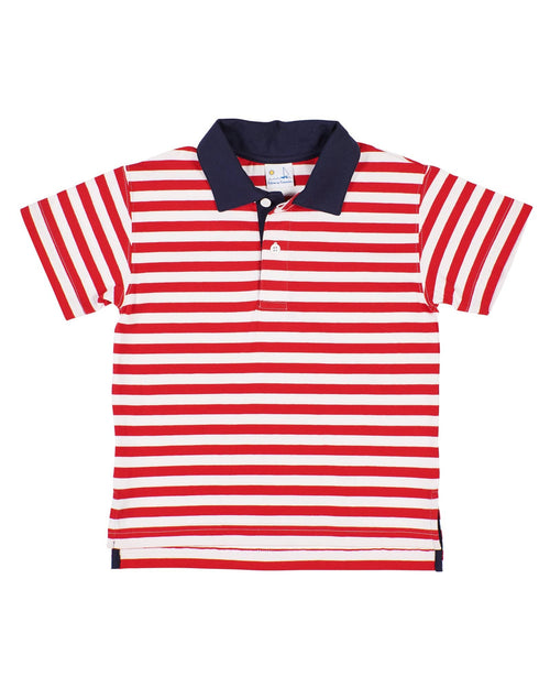 Boys Red Stripe Polo Shirt