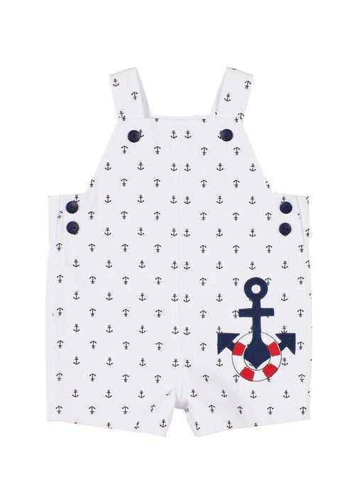 Anchor Print Shortall With Anchor Applique