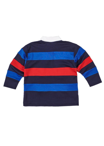 Boys Long Sleeve Polo Shirt in Navy, Blue, and Red Back