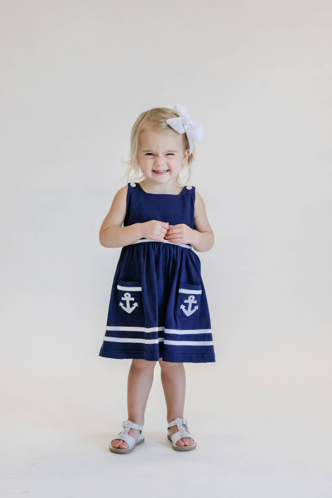 Girls Navy Nautical Knit Dress