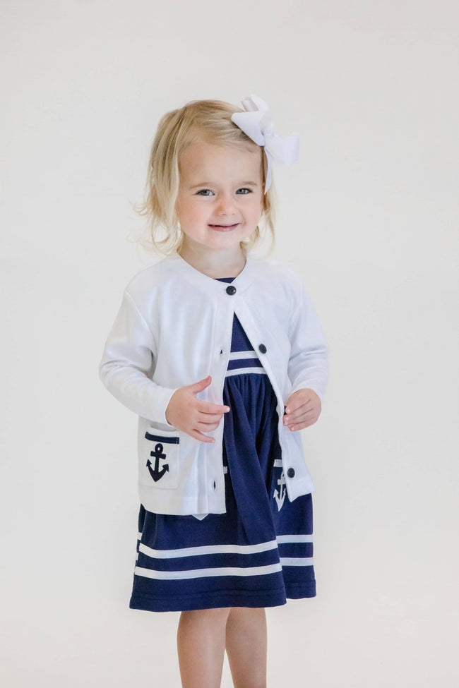 White Knit Cardigan with Anchor