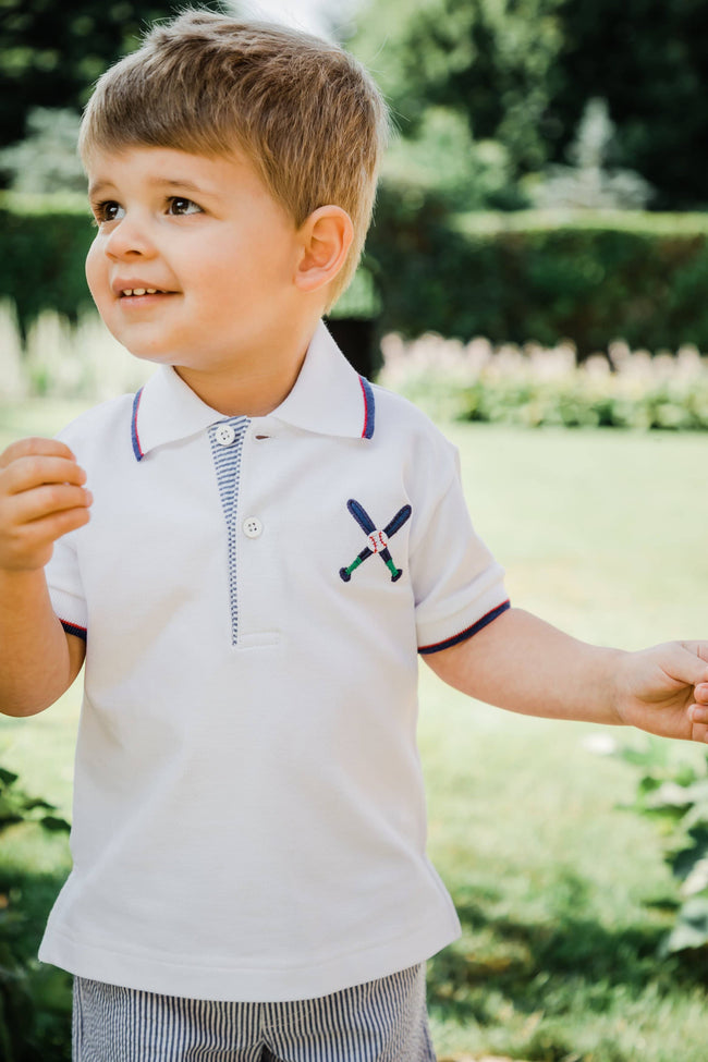 Boys Polo Shirt with Baseball Bats