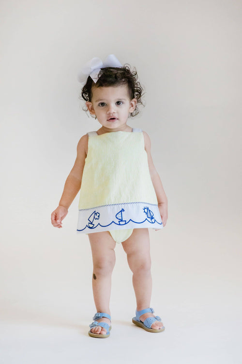Girls Yellow Seersucker Romper with Embroidered Sailboats - Florence Eiseman
