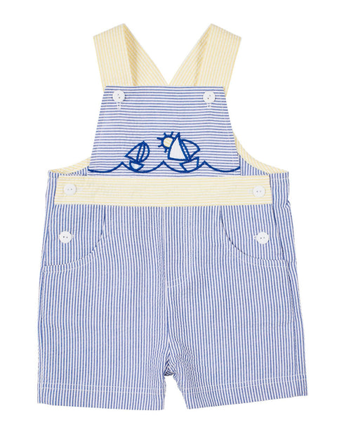Boys Blue Stripe Short Overall with Embroidered Sailboats - Florence Eiseman