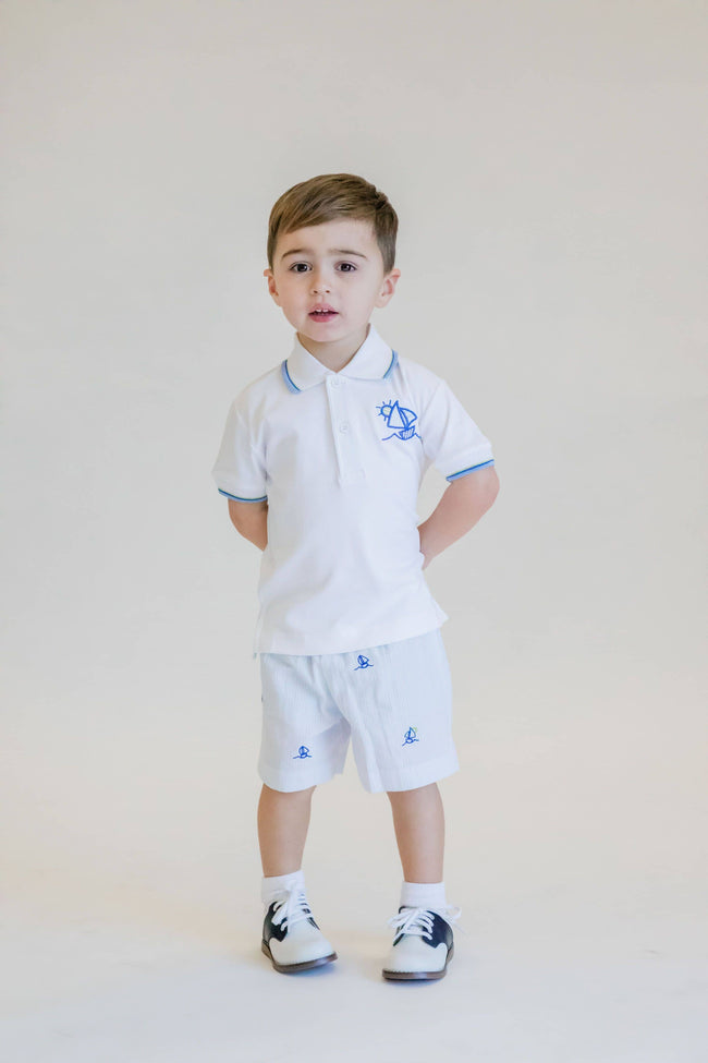 Boys Polo Shirt with Embroidered Sailboat