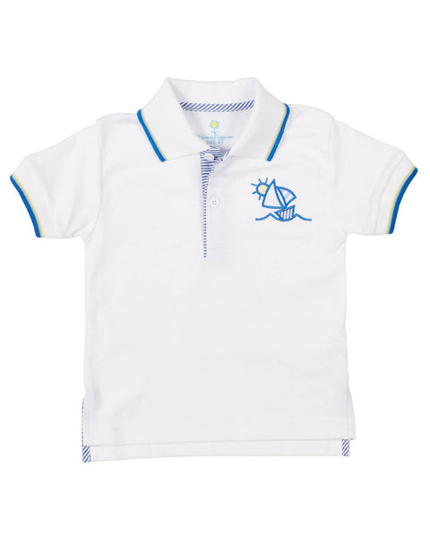 Boys Polo Shirt with Embroidered Sailboat - Florence Eiseman