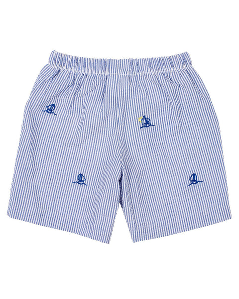 Boys Blue Seersucker Shorts with Embroidered Sailboats - Florence Eiseman