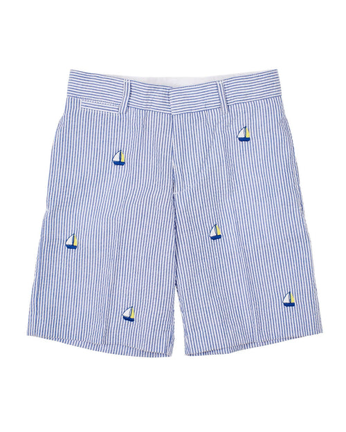 Boys Blue Seersucker Short with Embroidered Sailboats - Florence Eiseman