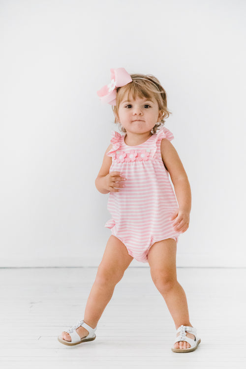 Pink Stripe Romper With Appliqued Flowers
