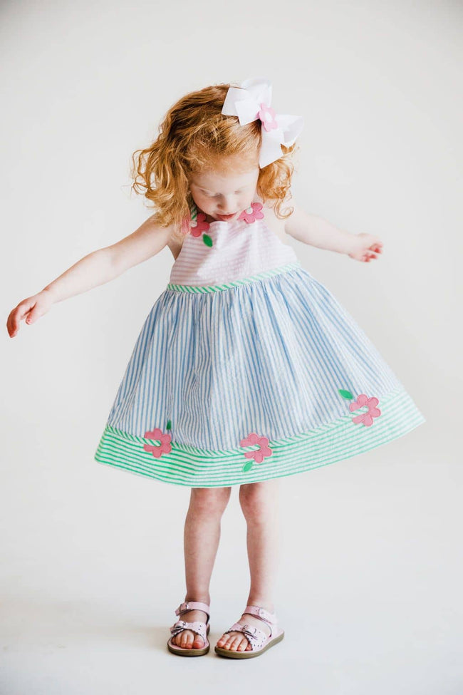 Girls Pastel Seersucker Dress with Appliqued Flowers