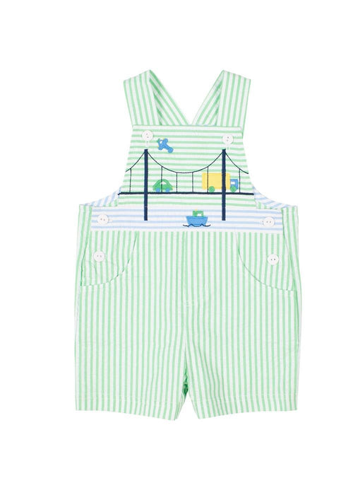 Seersucker Stripe Shortall With Bridge Scene