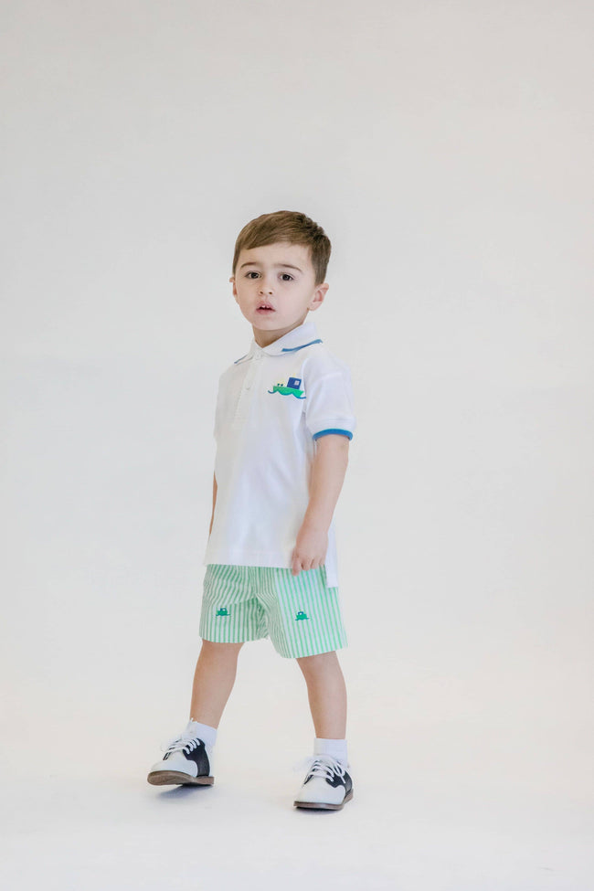 Boys White Polo Shirt with Car Ferry Applique