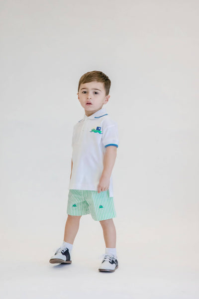 Boys White Polo Shirt with Car Ferry Applique - Florence Eiseman