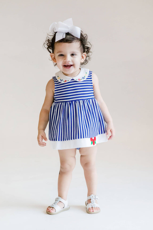 Royal Stripe Knit Romper-Dress