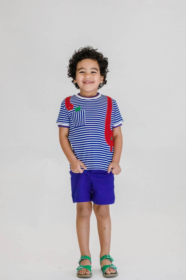 Royal Stripe Knit T Shirt with Dinosaur