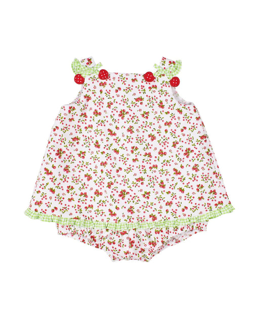 Cherry and Strawberry Print Baby Girl Romper - Florence Eiseman