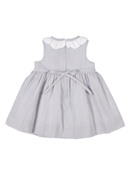 Grey Seersucker Stripe Dress With Flowers