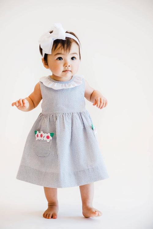 Grey Stripe Seersucker Dress and Bloomer with Appliqued Flowers - Florence Eiseman