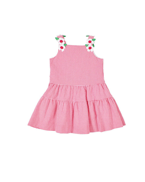 Girls Cherry Red Seersucker Dress with Appliqued Flowers - Florence Eiseman