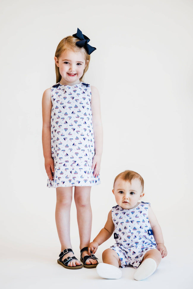 Sailboat Print Pique Dress