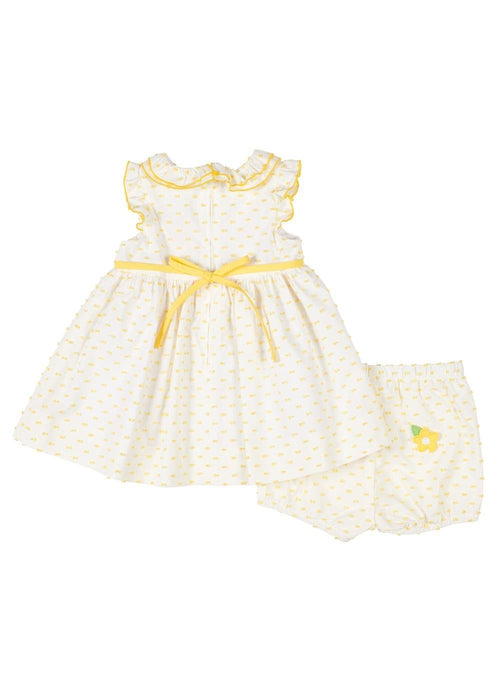 White/Yellow Fringed Fabric Dress With Flowers