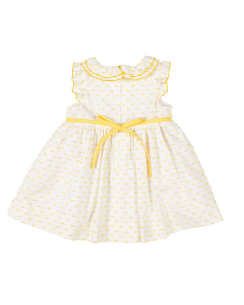 White/Yellow Swiss Dot Dress - Florence Eiseman