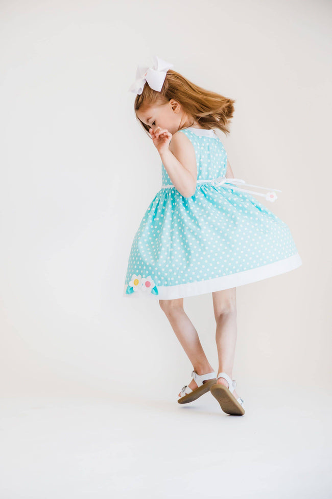 Aqua Polka Dot Sundress with Appliqued Flowers